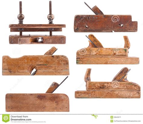 collection  antique woodworking tools stock image