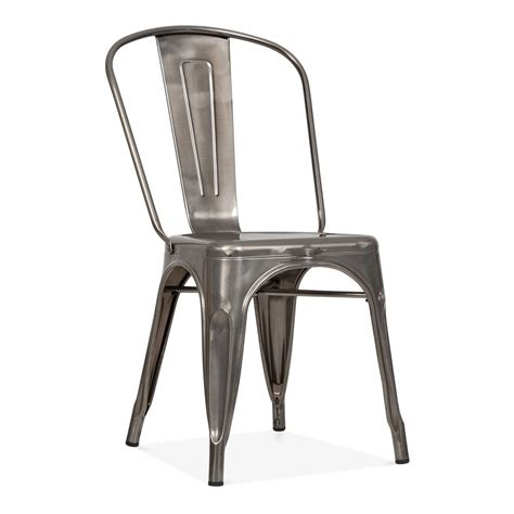 tolix style gunmetal steel industrial side chair cult furniture
