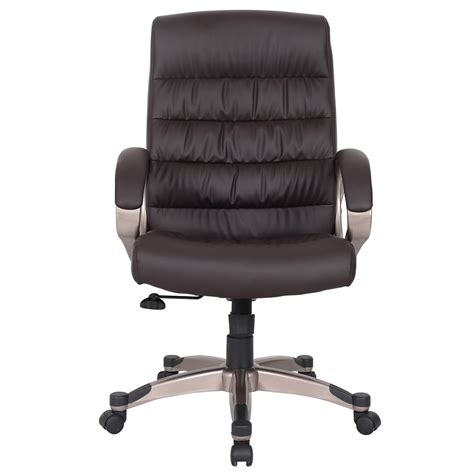 leick brown faux leather executive office chair