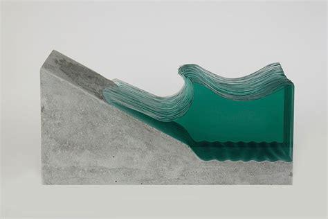 artist layers sheets  glass  create ocean waves