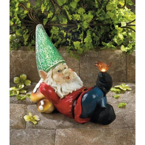 lazy gnome solar panel statue bird doll figure home