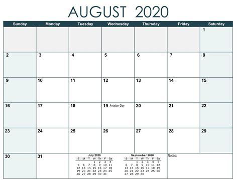 august  calendar  holidays  printable