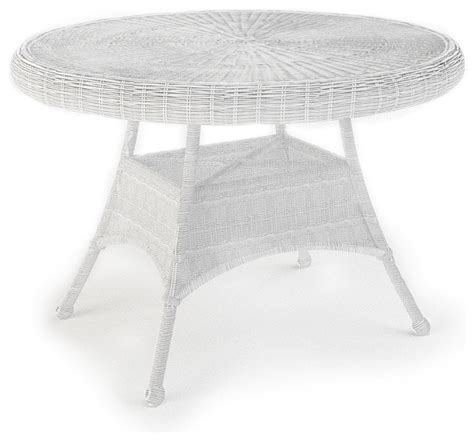 white round outdoor table rockport 42 in round patio dining table white wicker