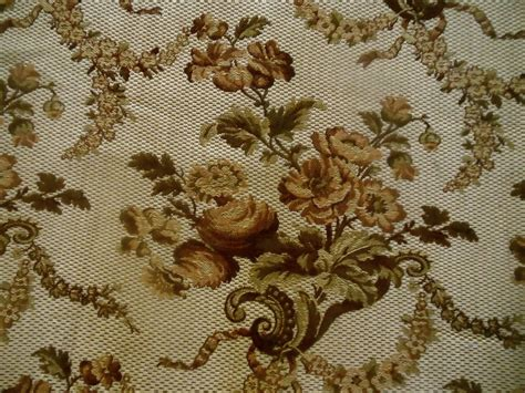 vintage upholstery fabric antique garlands roses tapestry fabric brown olive
