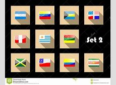 International Country Flags Set On Flat Icons Stock Photos