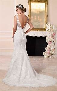illusion bateau neck backless long tail mermaid lace With dressy wedding dresses