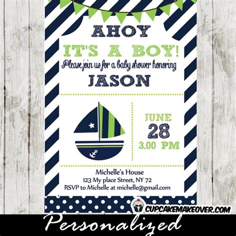 green  blue nautical baby shower package instant