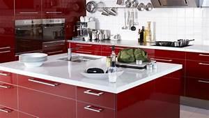modele de cuisine rouge 62 idees d39inspiration modernes With kitchen cabinets lowes with decoration de noel en papier