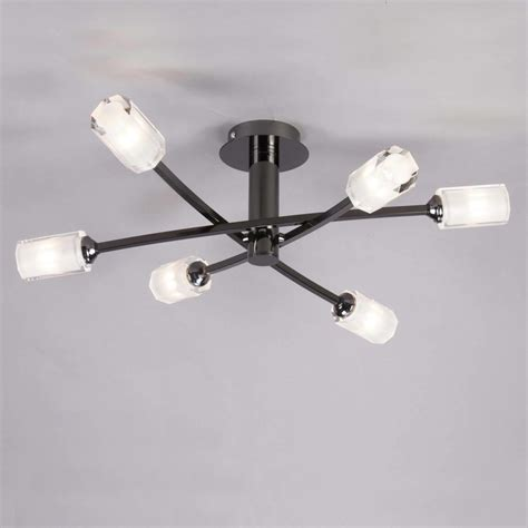 octi semi flush ceiling light 6 light black chrome