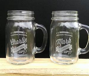 retro personalized mason jars with handle engraved custom With custom etched mason jars