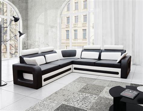 canap pu canap d 39 angle convertible noir et blanc avec coffre aglibo