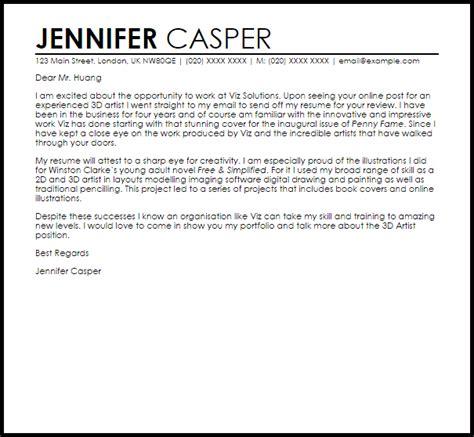 3d artist cover letter sle livecareer