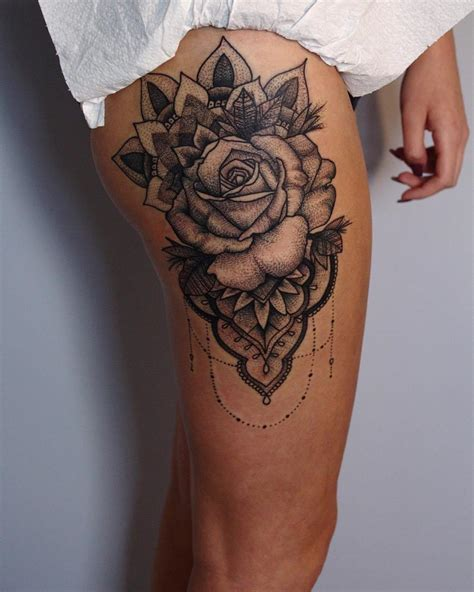 rose tattoo large thigh design lava