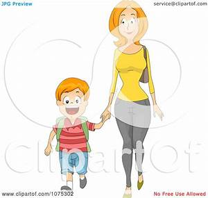 Clipart Caring Mother Holding Hands And Walking Her Son To ...