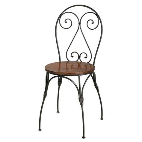 chaise en fer chaise cœur en bois de sheesham massif et fer forgé