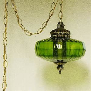 Vintage hanging light lamp green globe chain