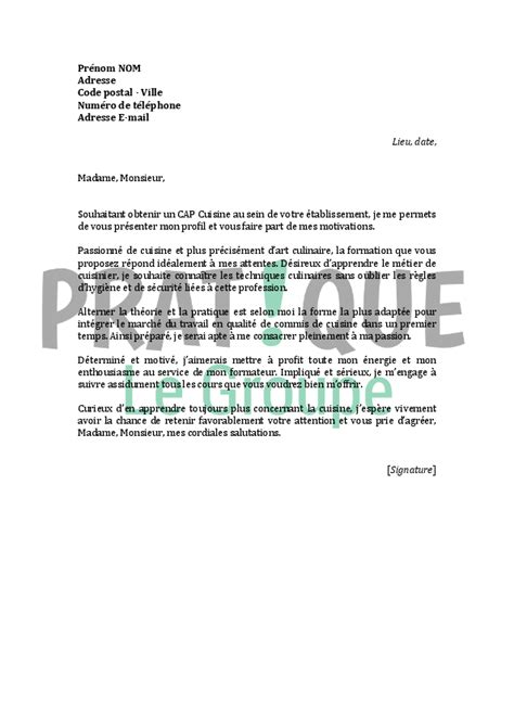 lettre de motivation de cuisine lettre de motivation pour un cap cuisine pratique fr