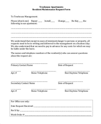 apartment maintenance forms apartment maintenance request form template five reasons