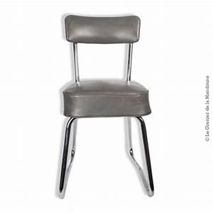 Chaise Industrielle Metal : chaise de bureau industrielle m tal et assise en ska gris ~ Teatrodelosmanantiales.com Idées de Décoration