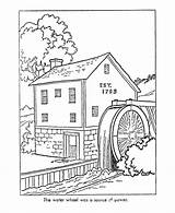 Coloring Early Watermill Colonial Mill America Printable Sheets Drawing Grist Worksheets Drawings Adult History Colouring Trades 49kb 820px Toys Transportation sketch template