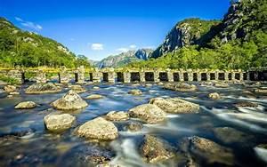 Norway, River, Stone, Bridge, Stones, Mountains, Blue, Sky, Photo