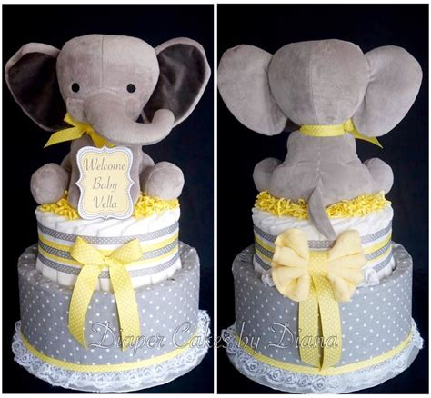 gender neutral elephant themed diaper cake wwwfacebook