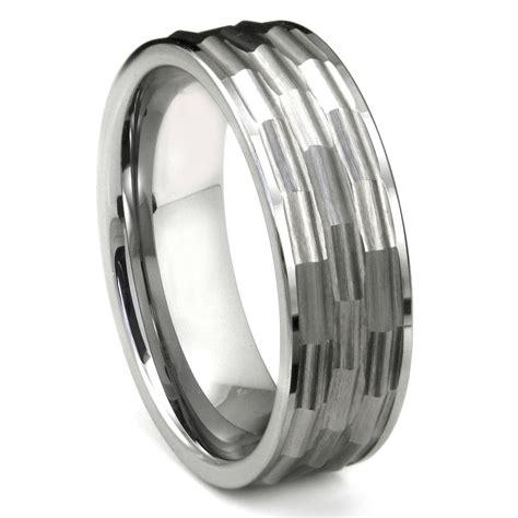 Mens Wedding Rings Men's Hammered Tungsten Wedding Rings