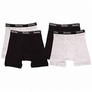 4 Mens Boxer Briefs 100% Cotton Black Gray White Lot ...