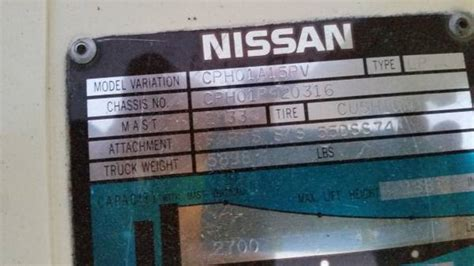 find  nissan forklifts serial number