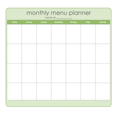 meal planning templates   excel ms word