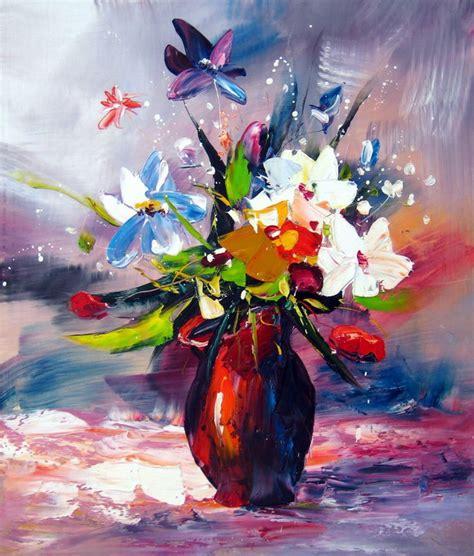 peinture abstraite bouquet de fleurs dans un d 233 cor parme