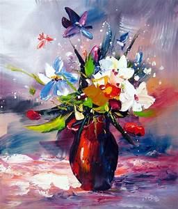 Tableau Fleurs Moderne : tableau contemporain fleur mauve fleurs rouges en peinture ~ Teatrodelosmanantiales.com Idées de Décoration