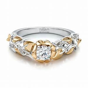 Custom two tone gold organic vines and diamond engagement ring for Wedding rings two tone gold