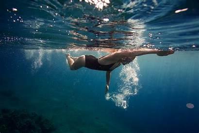 Ocean Swimming Swim Underwater Before Swimmer Know