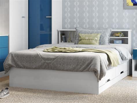 lit boris avec tiroirs  rangements blanc xcm