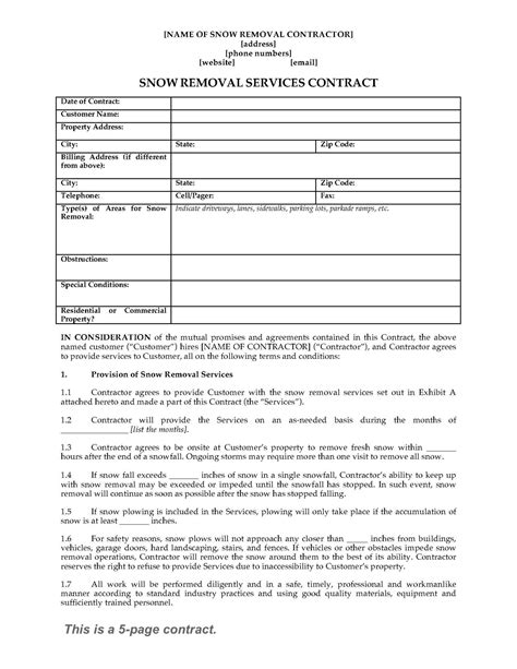 Snow Removal Contract Form