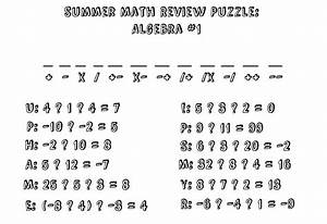 Summer Math Review Puzzle: Algebra I #1 | Stick Figure ...