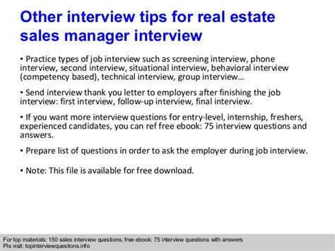 real estate sales manager questions and answers