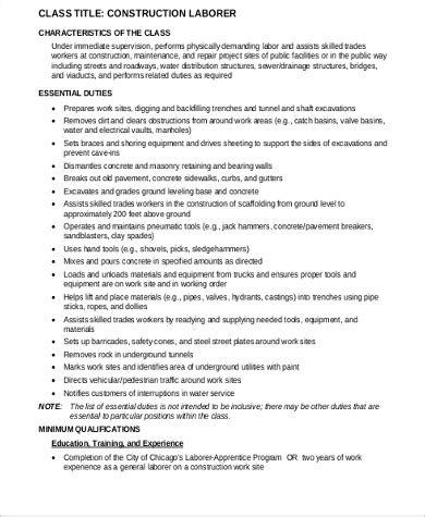 construction laborer description construction laborer