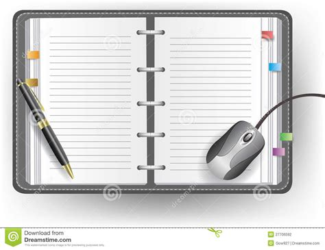 agenda de bureau avec la ligne le stylo bille et la souris photographie stock image 27706592