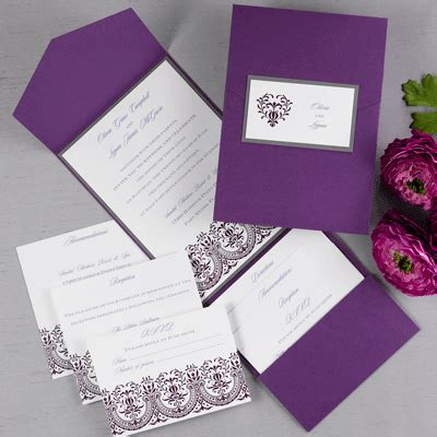 purple wedding invitations with pocket and titles better