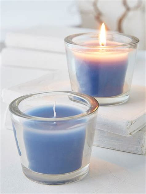 nordic blue glass candle votive blue solid glass votive