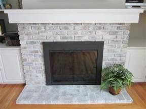Whitewash Brick Fireplace with Paint