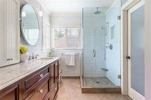 Transitional, Master, Bathroom, With, Glass, Enclosed, Shower