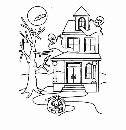 Haunted Coloring Pages Printable Dollhouse Awesome Halloween