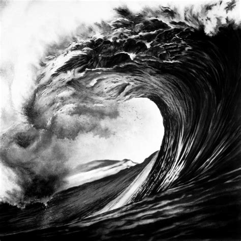 modern charcoal drawings photorealistic charcoal drawings of epic waves my modern met