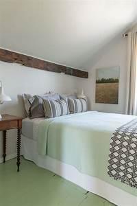 Bedroom, With, Mint, Green, Painted, Hardwood, Floors