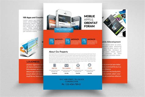 Apple Iphone Brochure Templates Mobile Apps Sided Flyer Flyer Templates