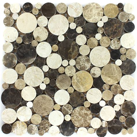 marble mosaic marble mosaic tiles brown beige polished round ht88318m