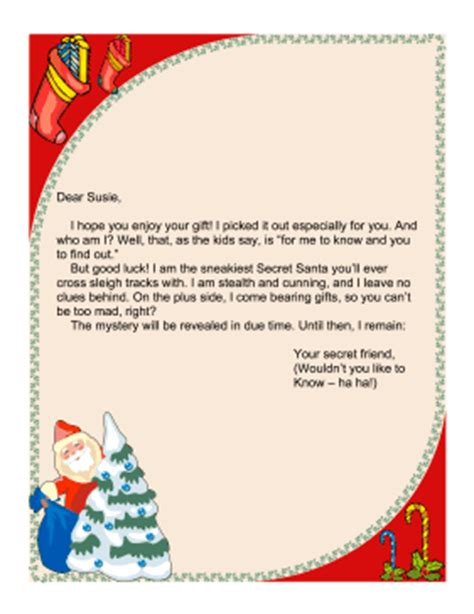 secret santa letter template secret santa letter church secret santa letter 68441